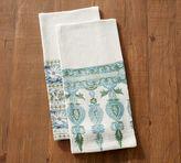 Pottery Barn Block Print Tea Towels - Mixed Set of 2