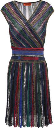 Missoni Wrap-effect Metallic Striped Crochet-knit Dress