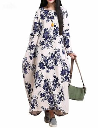 Naliha Women Casual Dresses Cotton Linen Floral Long Sleeve Plus Size Maxi Dress Blue 5XL