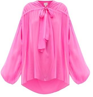 Giambattista Valli Balloon-sleeve Tie-front Silk-georgette Blouse - Womens - Pink