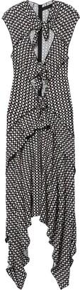 Proenza Schouler Checkered Cap Sleeve Tie Dress