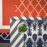 Williams-Sonoma Multi Color Ikat Indoor/Outdoor Rug, Navy