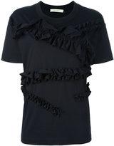 Cédric Charlier ruffled T-shirt - women - Cotton - 38