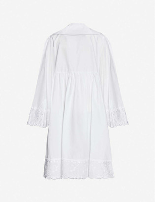 Simone Rocha Floral-embroidered cotton midi dress