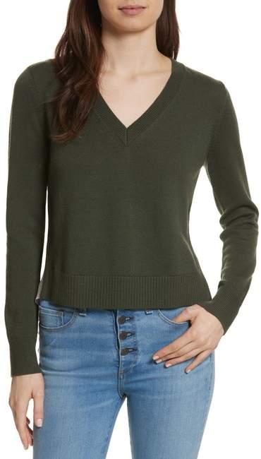 Veronica Beard Concord V Neck Mixed Media Sweater