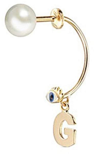 Delfina Delettrez 'ABC Micro Eye Piercing' freshwater pearl 18k yellow gold single earring - G