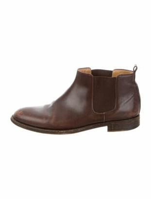 Hermes Leather Distressed Accents Chelsea Boots Brown