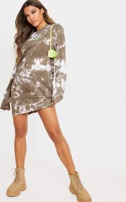 PrettyLittleThing Charcoal Begin Again Slogan Acid Wash T Shirt Long Sleeve Dress