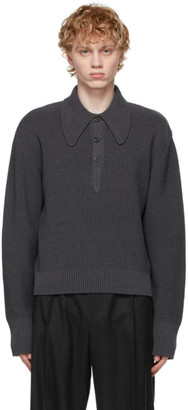 Maison Margiela Grey Wool Long Sleeve Polo