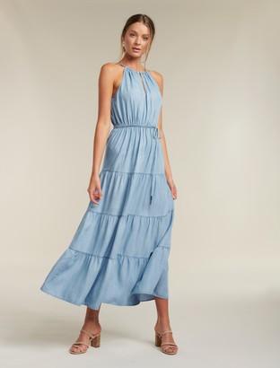 Forever New Annie Tiered Denim Maxi Dress - Light wash - 10