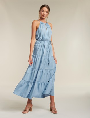 Forever New Annie Tiered Denim Maxi Dress - Light wash - 14