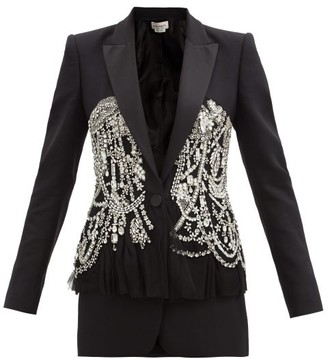 Alexander McQueen Peplum Crystal-embellished Wool-blend Twill Jacket - Black