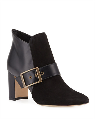 Manolo Blahnik Belinba Buckled Suede Ankle Booties