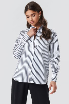NA-KD Wide Collar Striped Shirt Multicolor