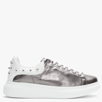 Moda In Pelle Briton Pewter Leather Studded Trainers