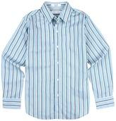 Calvin Klein Kids - Gradient Stripe L/S Woven (Big Kids) (Teal) - Apparel