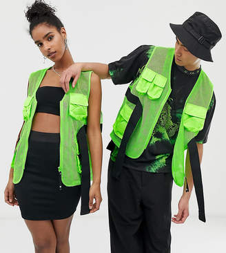 Collusion COLLUSION Unisex multi pocket neon gilet-Green