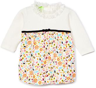 Snopea SnoPea Girls' Casual Dresses - Orange & Khaki Candy Ruffle-Collar Pointelle Bubble Dress - Infant