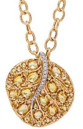 Michael Aram Botanical Leaf 18K 7.43 Ct. Tw. Diamond & Yellow Sapphire 30In Necklace