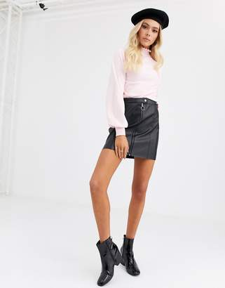 JDY faux leather mini skirt with zip deatil-Black