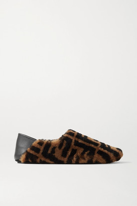 Fendi Leather-trimmed Logo-print Shearling Collapsible-heel Slippers - Brown