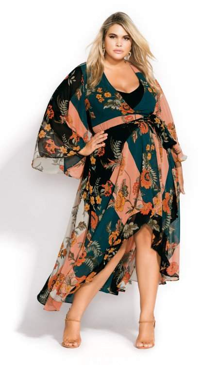 Citychic Kado Floral Maxi Dress - black