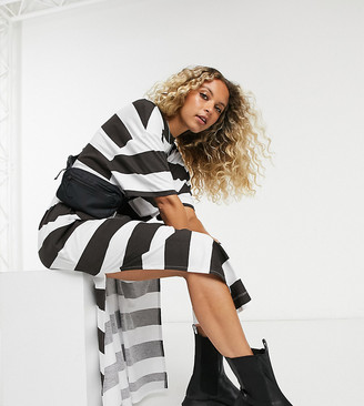Collusion maxi t shirt dress in black and white stripe with brand print