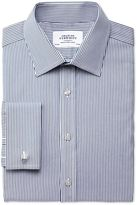 Charles Tyrwhitt Extra Slim Fit Raised Stripe Navy Cotton Dress Casual Shirt French Cuff Size 15/35