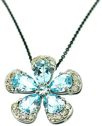 Arthur Marder Fine Jewelry Silver 0.68 Ct. Tw. Diamond & Blue Topaz Pendant Necklace