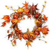NATIONAL TREE CO National Tree Co 21 Inch Maple Leaves And Pumpkin Wreath