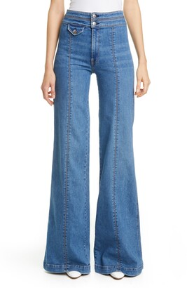 Veronica Beard Ember Seam Detail High Waist Wide Leg Jeans