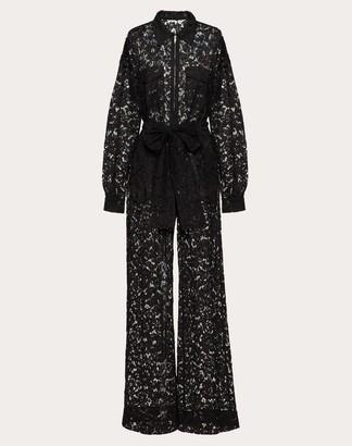 Valentino Heavy Lace Jumpsuit Women Black Viscose 43% 44