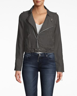 Nicole Miller Washed Habotai Kalysie Moto Jacket