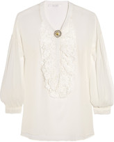 Nevenka Crochet-trimmed silk-chiffon blouse