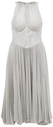 Maria Lucia Hohan Bria Halterneck Metallic Dress - Silver