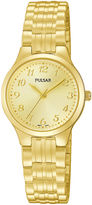 Pulsar Traditional Womens Gold-Tone Stainless Steel Expansion Bracelet Watch PG2034