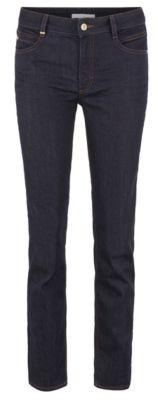 HUGO BOSS Regular Fit Cropped Jeans In Luxury Comfort Stretch Denim - Dark Blue