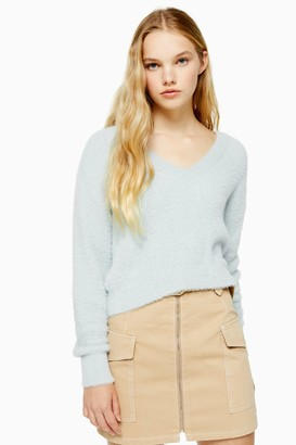 Topshop Womens Knitted Fluffy Cropped Jumper - Sage