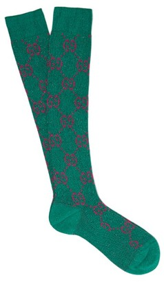 Gucci GG-intarsia Metallic Cotton-blend Socks - Green Multi