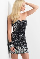 Blush Lingerie Glittering Strapless Sequined Cocktail Dress 9442