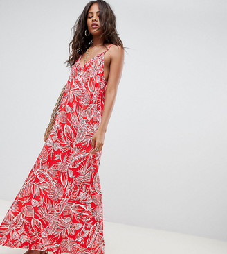 Asos DESIGN Tall gathered maxi dress in palm print