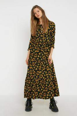 Free People Tiers Of Joy Midi Dress - black XS at Urban Outfitters