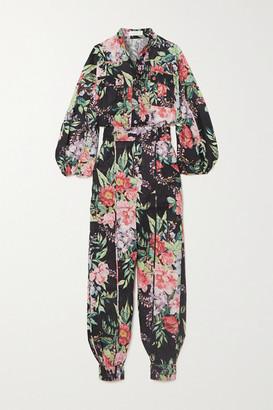 Zimmermann Bellitude Floral-print Linen Jumpsuit - Navy