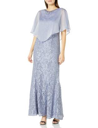 Ignite Women's Sequin Lace Beaded Cape Gown Dress