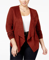 INC International Concepts Plus Size Faux-Suede Draped Cardigan, Only at Macy's