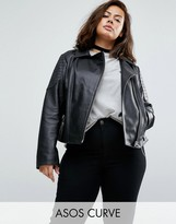 Asos Ultimate Leather Biker Jacket With Quilting Detail
