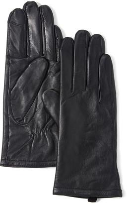 Gloves International Women's Casual Gloves Black - Black Leather Touchscreen Gloves