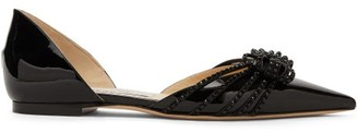 Jimmy Choo Katience Embellished Patent-leather D'orsay Flats - Womens - Black