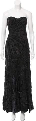 Carlos Miele Leather-Accented Silk Gown