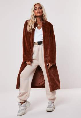 Missguided Petite Brown Collarless Long Faux Fur Coat